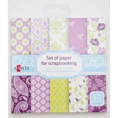 Набор бумаги для скрапбукинга 15,2*15,2 см фиолетовый