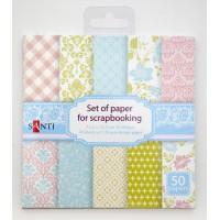 Набор бумаги для скрапбукинга 15,2*15,2 см розово-голубой