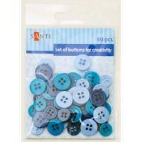 Набор пуговиц для творчества, пластик, 11мм и 14мм, 3 цв., 60шт./уп., синий