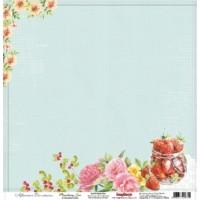 Лист односторонней бумаги 30*30 см из коллекции Полуденный Чай от ScrapBerry's