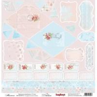 Лист односторонней бумаги 30*30 см из коллекции Розы от ScrapBerry's