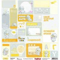 Лист односторонней бумаги 30,5*30,5 см из коллекции Басик малыш от ScrapBerry's