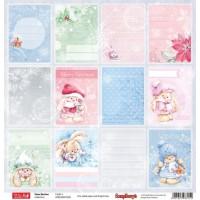 Лист односторонней бумаги 30,5*30,5 см из коллекции Зайка Ми Зимняя ягодка от ScrapBerry's