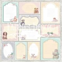 """Лист односторонней бумаги 30*30 см из коллекции """"Baby shabby"""" от Фабрики Декора"""