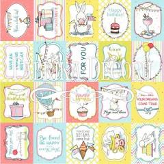 """Лист односторонней бумаги 30*30 см из коллекции """"Bunny birthday party"""" от Фабрики Декора"""