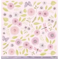 Лист односторонней бумаги для вырезания Цветы 30x30 от Scrapmir из коллекции Daddy's Princess