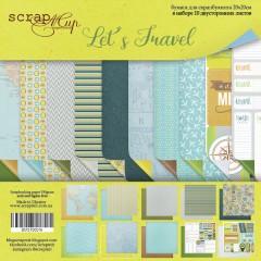 Набор двусторонней бумаги 20х20см от Scrapmir Let's Travel (eng.) 10 листов