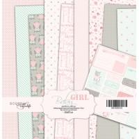 Набор односторонней бумаги 20х20см от Scrapmir Baby Girl 10 листов