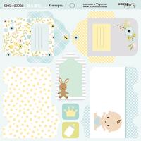 Лист двусторонней бумаги 20х20см Конверты Smile Baby от Scrapmir