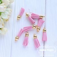 Кисточка замшевая 38*10 мм розовая