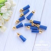 Кисточка замшевая 38*10 мм синяя
