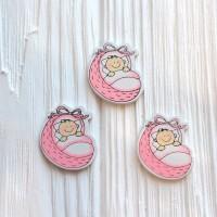 Малыш в корзинке розовый 28*33 мм