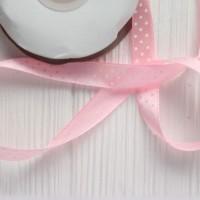 Лента атласная 12 мм горох на розовом фоне
