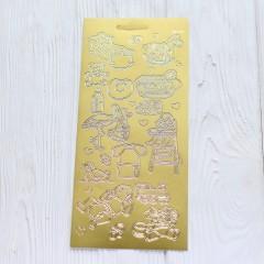 Контурная наклейка с металлическим эффектом 10 * 23 см