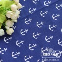 Бязь,белые якоря на синем фоне(цена указана за отрез 40*50см)