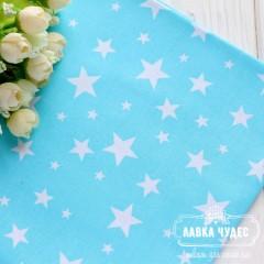 Бязь,белые звезды на бирюзовом фоне(цена указана за отрез 40*50см)