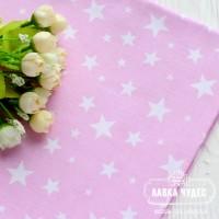 Бязь,белые звезды на розовом фоне(цена указана за отрез 40*50)