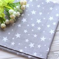 Бязь,белые звезды на светло-сером фоне(цена указана за отрез 40*50см)