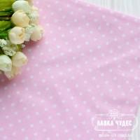 Бязь,белый горох 3мм на розовом фоне(цена указана за отрез 40*50см)