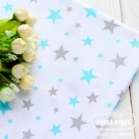 Бязь,бирюзово-серые звезды на белом фоне(цена указана за отрез 40*50см)