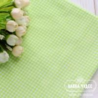 Бязь,мелкая салатовая клеточка на белом фоне(цена указана за отрез 40*50см)