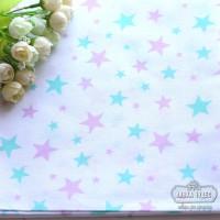 Бязь,мятно-розовые звезды на белом фоне(цена указана за отрез 40*50см)