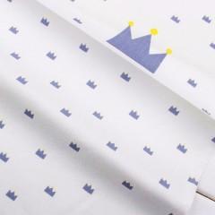 """Ткань """"Короны серо-голубые"""" на белом"""