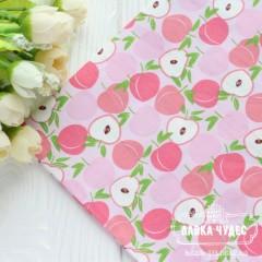 "Ткань ""Персики на светло-розовом фоне"" (цена указана за отрез 25*40 см)"