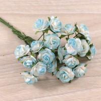 Розы бело-бирюзовые,1,5 см